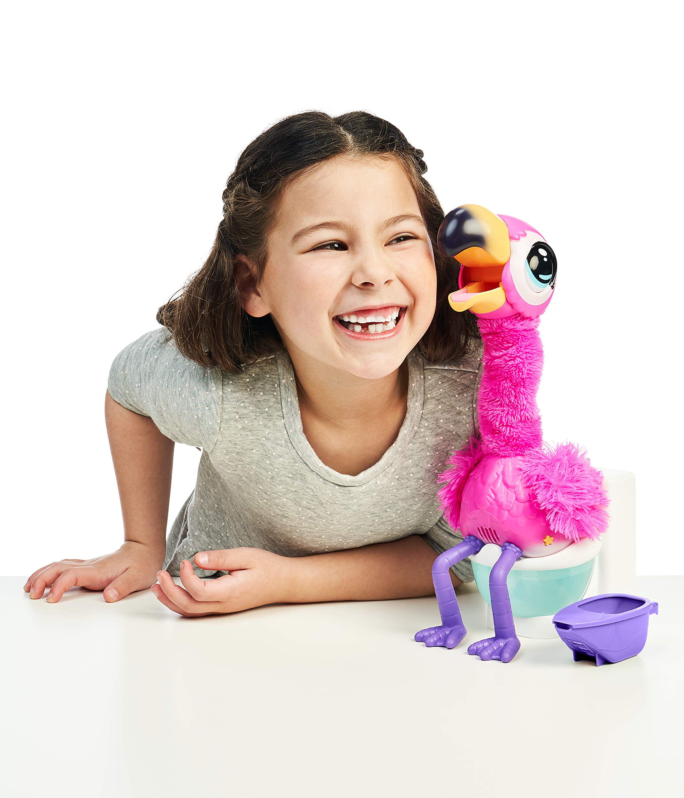 Little Live Pets Gotta Go Flamingo   Interactive Plush Toy That Eats, Sings, Wiggles, Poops and Talks (Batteries Included)   Reusable Food. Ages 4+, Multicolor