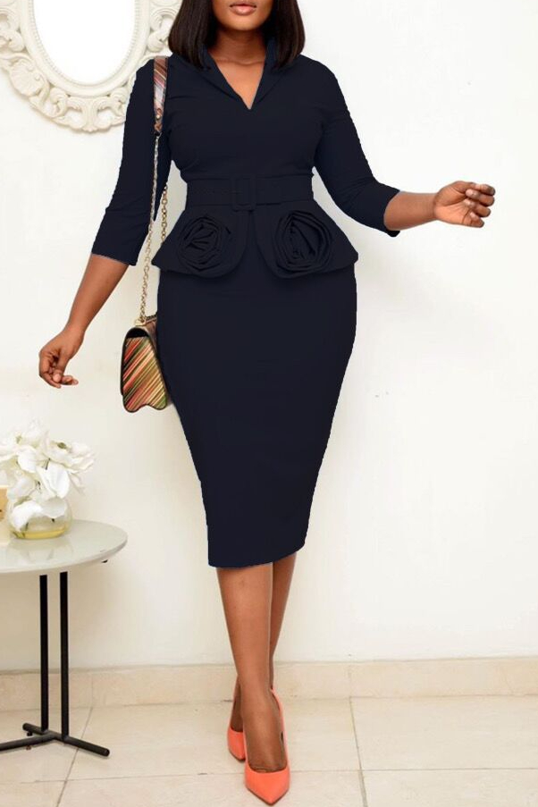 Office Professional Pencil Dress With Belt