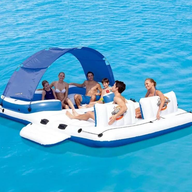 Family Lounge Swimming Pool Party for 6 Floating Island Inflatable Pool Island Float