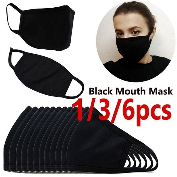 1/3/6 Pcs Black Mouth Mask Outdoor Fashion Anti-Dust Cotton Unisex Face Mask Respirator Winter Warm Mouth Mask Reusable Respirator Mask