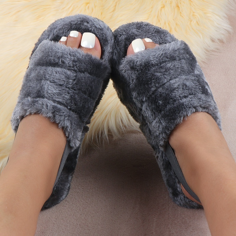 New Fashion Spring Comfortable Wild Fur Slippers Imitation Fur Sandals Large Size 35-43