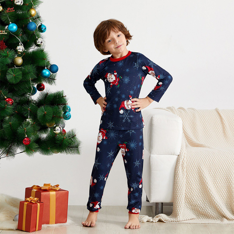 HERIN Dark Blue Santa Christmas Family Matching Pajamas Sets