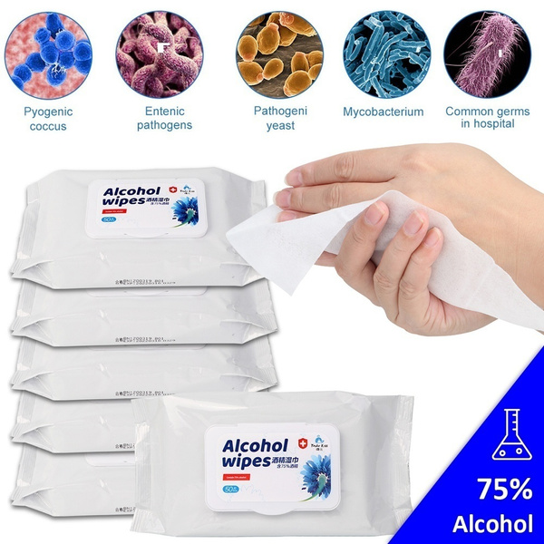 OurWarm 50pcs/bag 75% Alcohol Disinfecting Wipes Disposable Cotton Hand Wipes Skin Cleaning Bacteria Disinfection Wipes