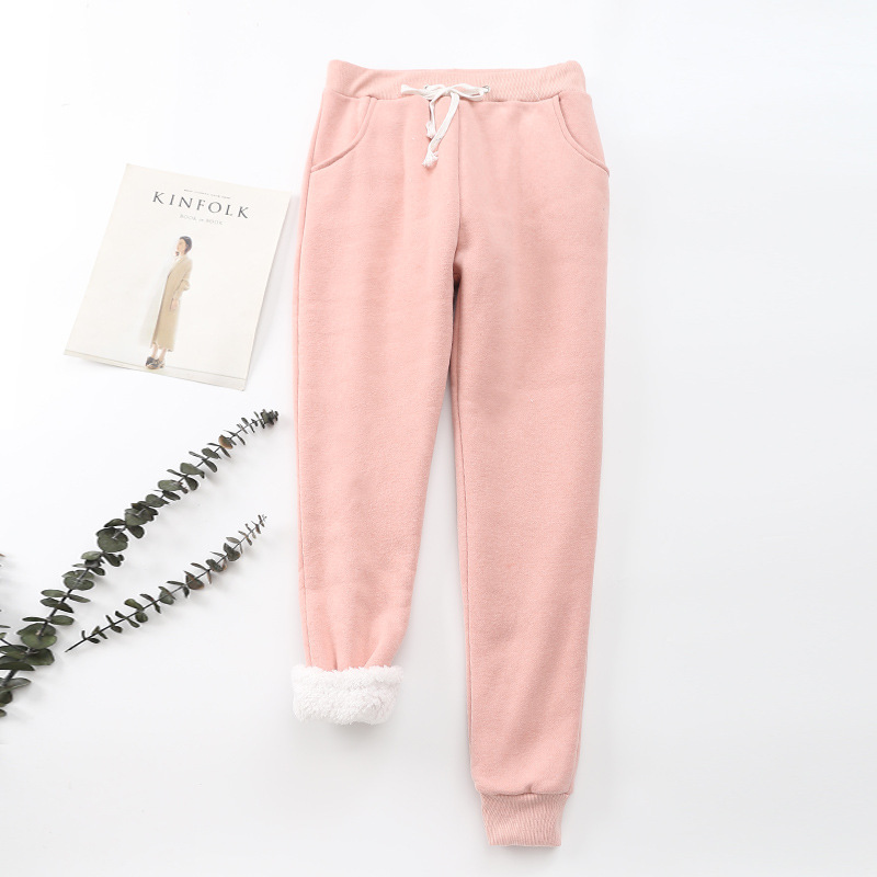 Women's Warm Thick Cashmere Pants Sherpa Lined Winter Warm Athletic Jogger Fleece Pants