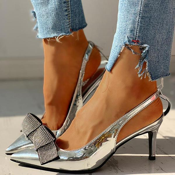 Bonnieshoes Pointed Toe Studded Bowknot Slingback Thin Heels