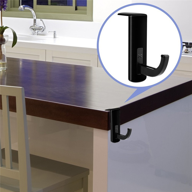 Black Headphone Headset Hanger Monitor Stand Holder Headset Stick-on Hook for Home and Office