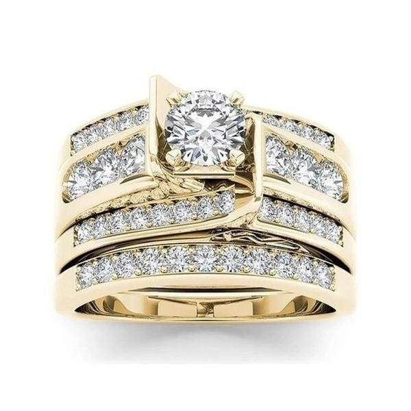 Dazzling Women 925 Sterling & 18K Gold White Sapphire Ring Jewelry Wedding Party Engagement Gift Anniversary Jewelry 4-12