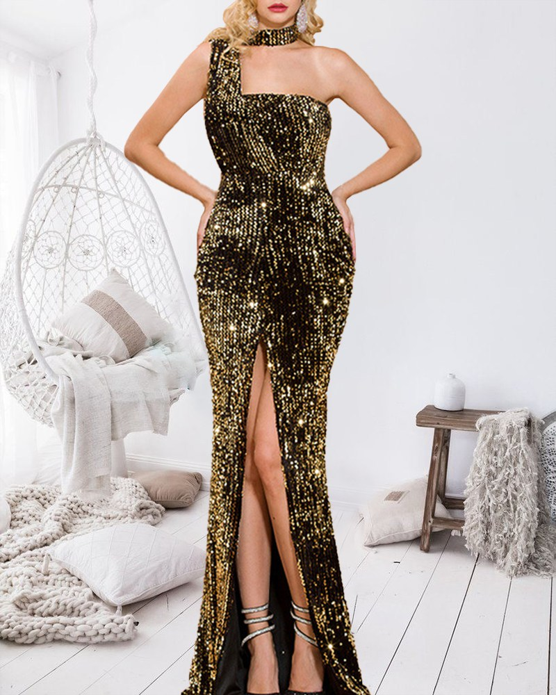 Sexy Off-The-Shoulder Vent Sequin Evening Dress
