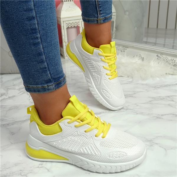 Bonnieshoes Chelsea Polyester Closed Toe Low Heel Lace Up Sneakers