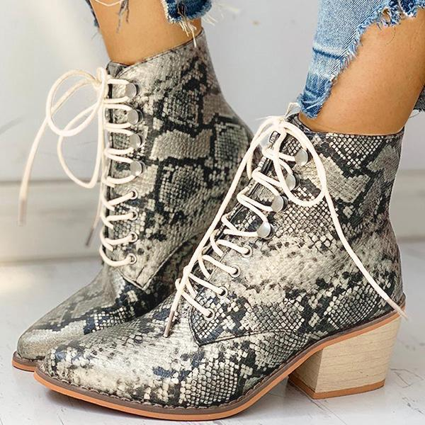Zoeyootd Pointed Toe Lace-up Snakeskin Chunky Heeled Boots