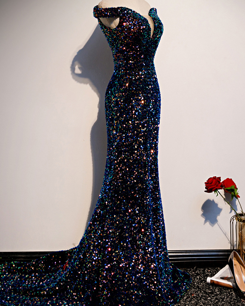 Fishtail Sequin Maxi Evening Dress