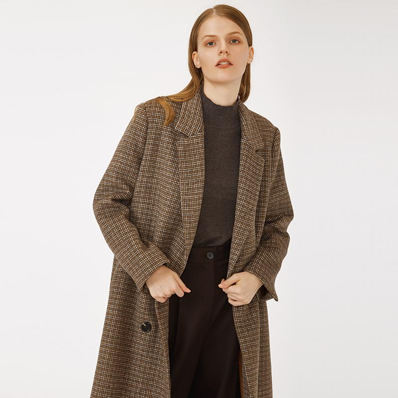 Women's new fashion European style notch collar  belted small plaid brown long blazer woolen coat woman check winter jacket-Casual Outwear 2.11