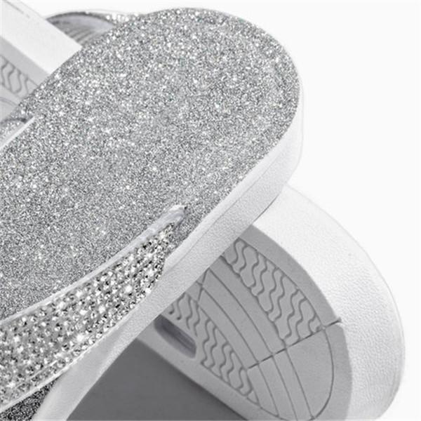 Bonnieshoes Silver Summer Artificial Leather Rhinestone Seaside Slippers