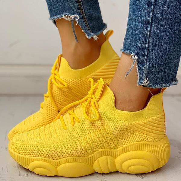 Bonnieshoes Non-Slip Knitted Breathable Lace-Up Sneakers
