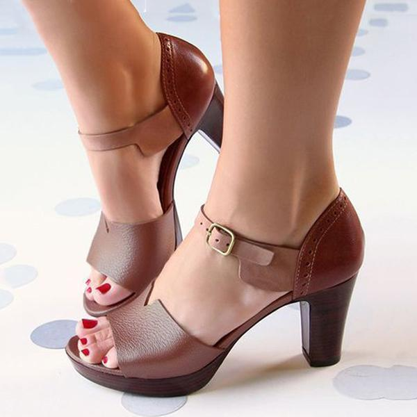 Mokoshoes Chunky Heel Ankle Strap Elegant Shoes Working Daily Shoes