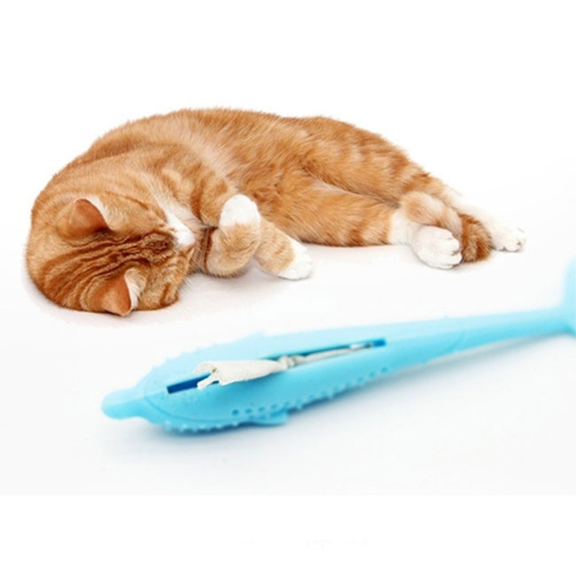 Pet Cat Toothbrush Unique Fish Shape Toothbrush Fish Flop Kitty Toy Eco-Friendly Silicone Molar Stick Teeth