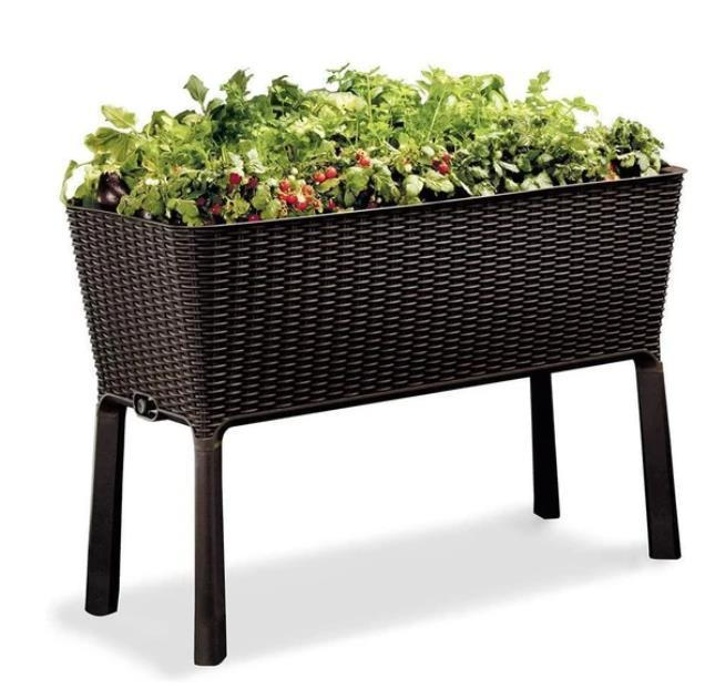 Easily Grow 31.7 Gallon Raised Garden Bed With Self Watering Planter Box And Drainage Plug