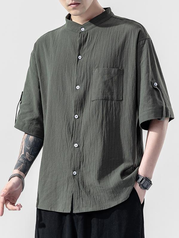Summer men's plus size button short sleeve shirt