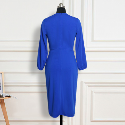V-neck Long Sleeve Stitching Contrast Color Slim Stretch Business Wear Women's Dress