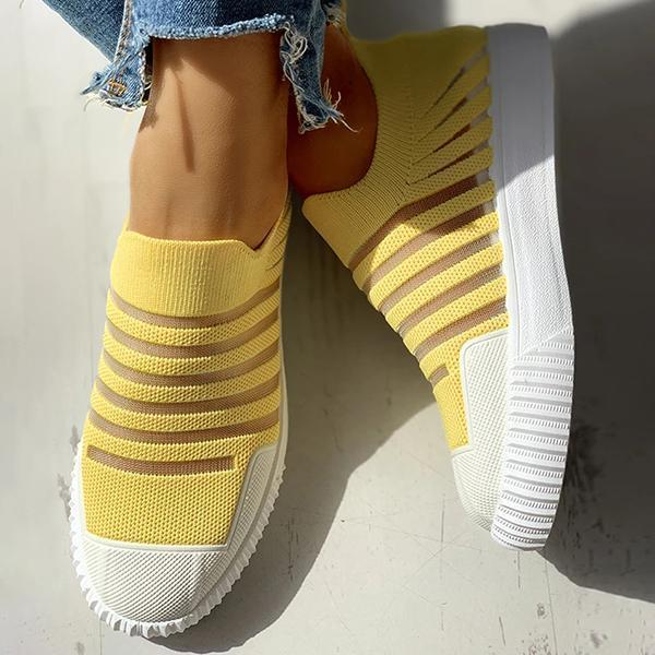 Zoeyootd Hollow Out Patchwork Casual Sneakers