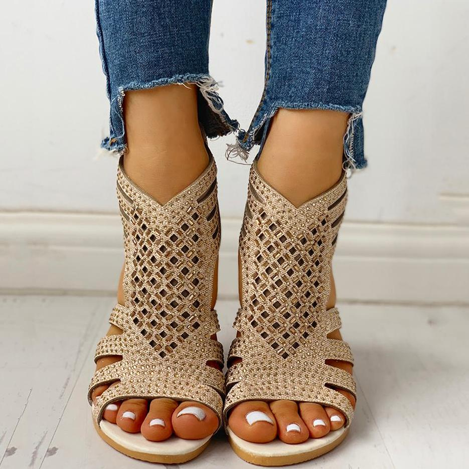 Mokoshoes Studded Hollow Out Flat Sandals