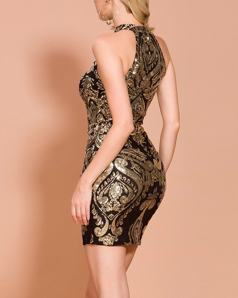 Fashion Sequined Sleeveless Mini Evening Dress