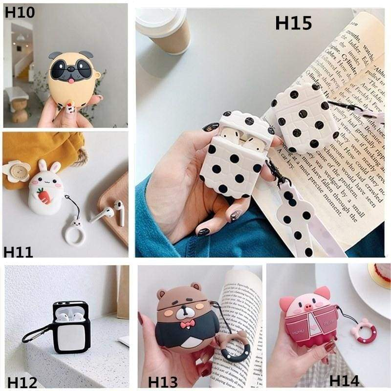 3D Q Cartoon Earphone Protective Silicone Cover For Apple Airpods Charging Case Airpods Not Included)