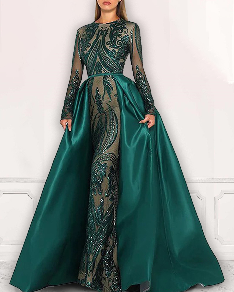 Long Sleeve Maxi Evening Dress