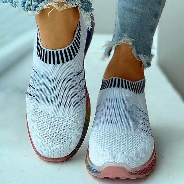 Upawear Colored Bottom Striped Breathable Casual Sneakers