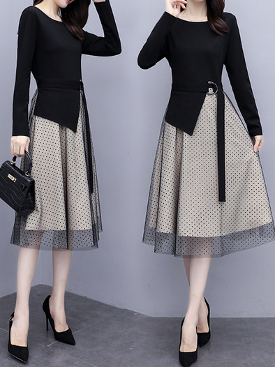 Cotton, Polyester Long Sleeve With Dresses(Plus Size)