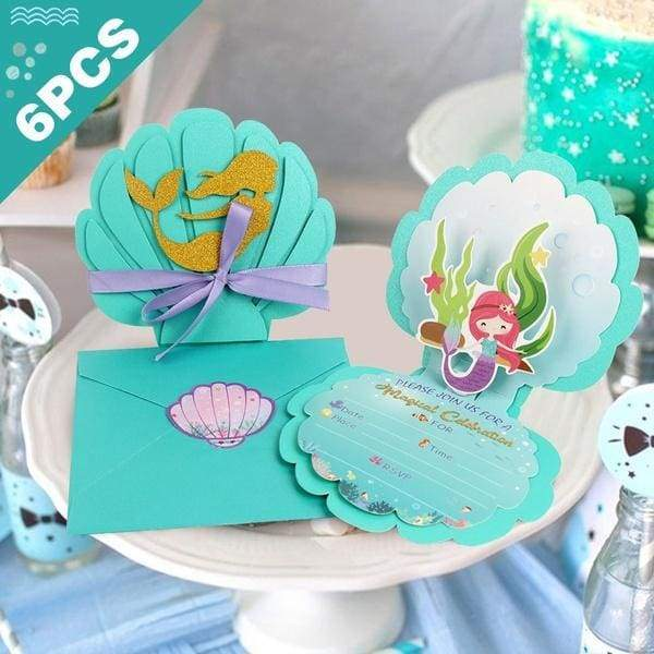 BestParty 6Pcs 3D Little Mermaid Invitation Cards With Envelops Under The Sea Mermaid Theme Party Baby Shower Kids Birthday Favors