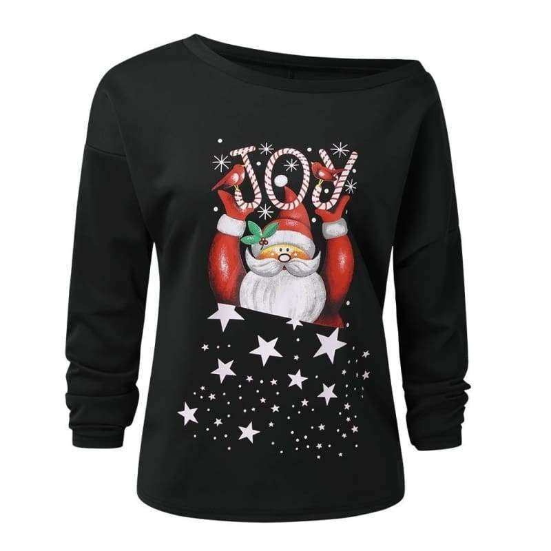Women Fashion Autumn and Winter Skew Neck Off Shoulder Santa Claus Snowflake Pullover Christmas Pullover Sweatshirt Tunic Tops