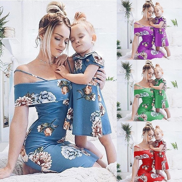 Fashion Family Matching Mother Daughter Dresses Clothes Flower Printed Mom and Daughter Dress Kids Parent Child Outfits