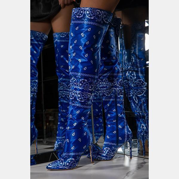 Zoeyootd Side Zip Closure Printed Over-The-Knee Boots
