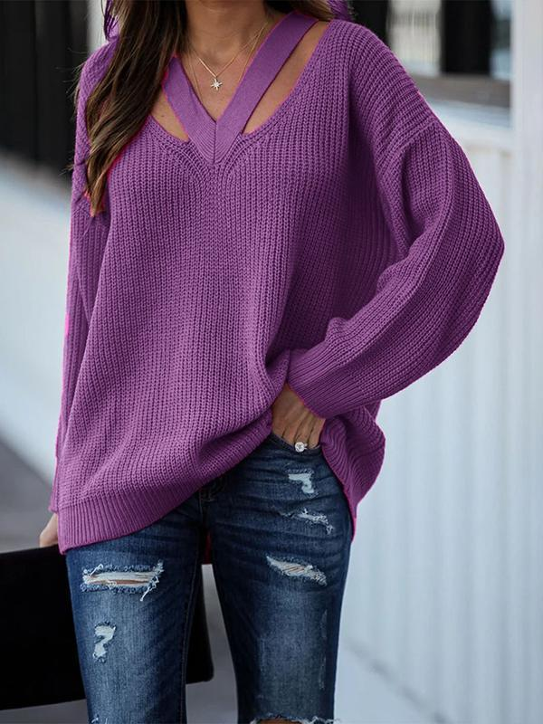 Bonnieshoes Hollow V Neck Sexy Fashion Sweater