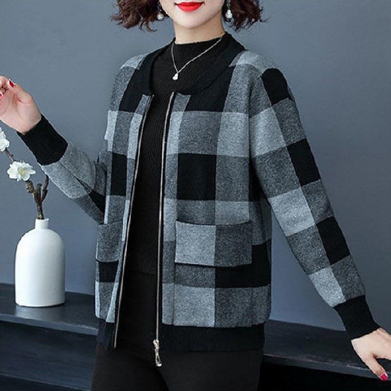 Ladies casual plaid jacket
