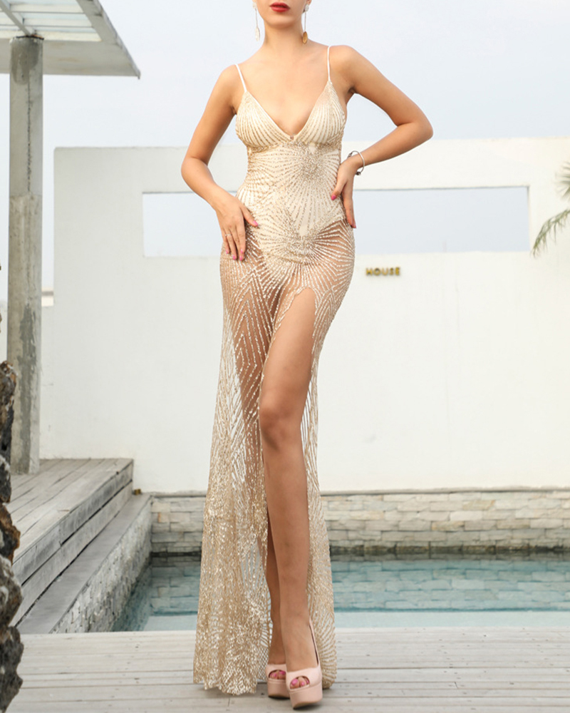 Off-The-Shoulder See-Through Mesh Strap Maxi Evening Dress