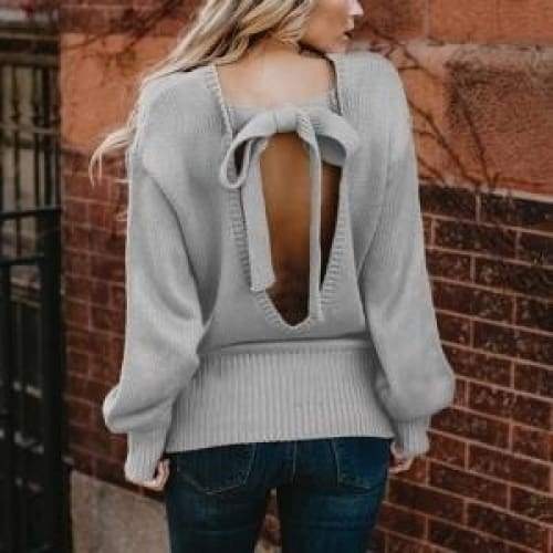 Women Plus Size Autumn and Winter Loose Long Sleeve Solid Color Round Neck Sexy Backless Frenulum Sweater Pullover Open Back Knitted Tops