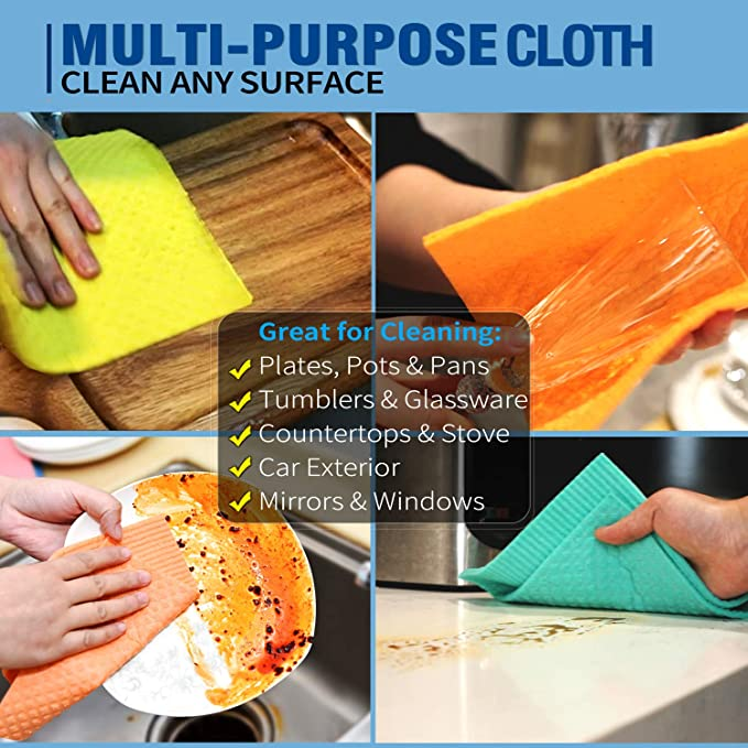 💥BUY 2 FREE SHIPPING💥Swedish Dishcloth Reusable Cellulose Sponge Cloth for Kitchen