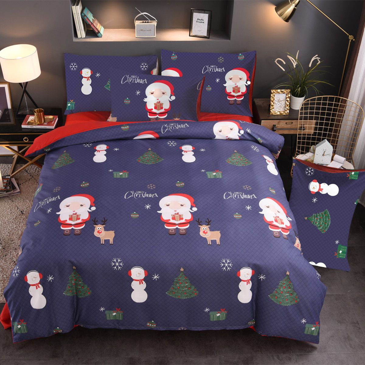 Christmas Day Bed sheet Household quilt pillow cover Santa Claus 4 piece suit Red cotton