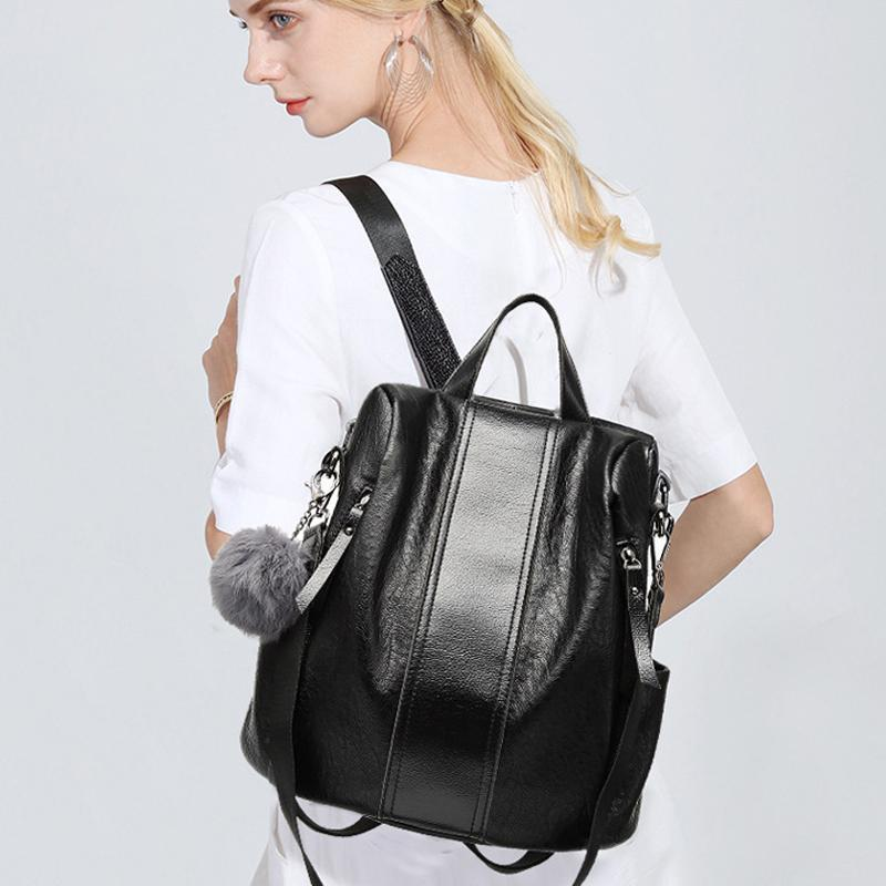 Last Day Promotion</br> Anti-theft Waterproof Soft Leather Casual Backpack & Shoulder Bag with Large Capacity