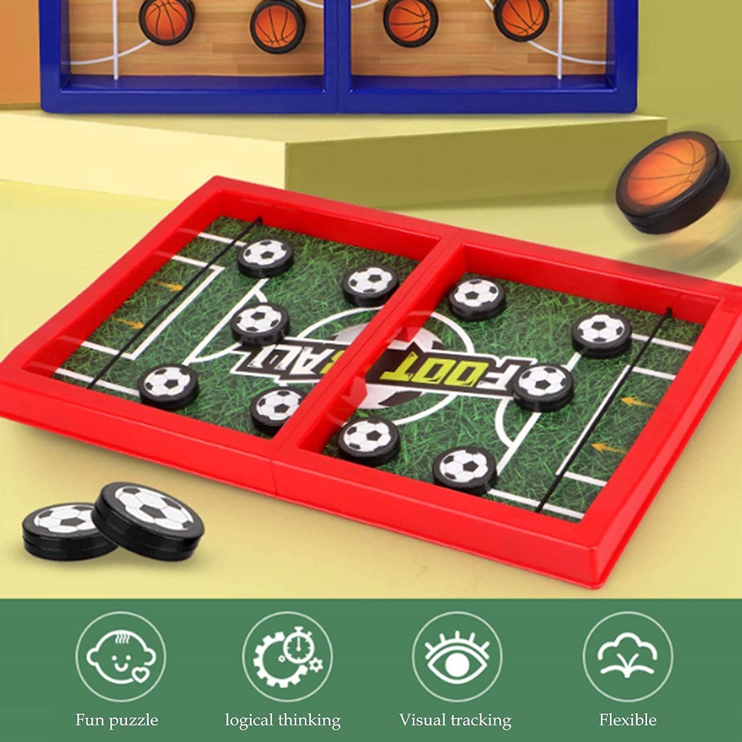 Football and basketball table top ejection game toy