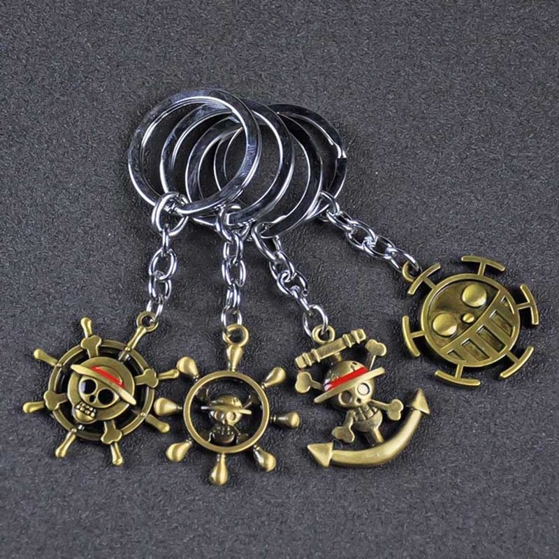 Anime One Piece Cartoon Cosplay Luffy Straw Hat Metal Keychain Unisex Couple Keyring Cute Pendant Accessories