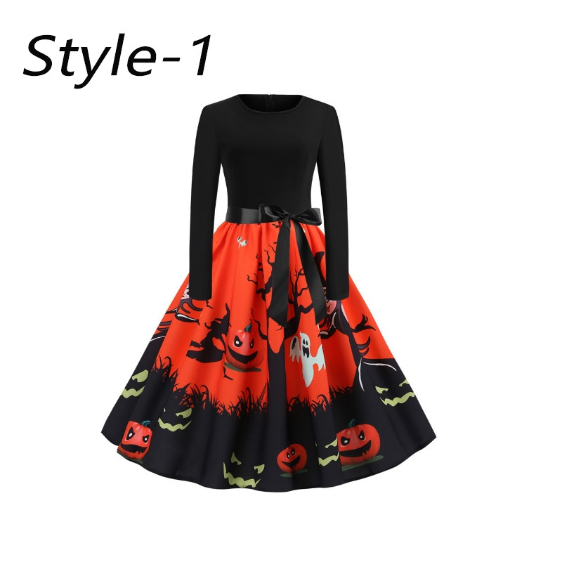 New Halloween Printed Dress with Waistband Cosplay Dress for Girls Skull Printed Long-sleeve Dresses