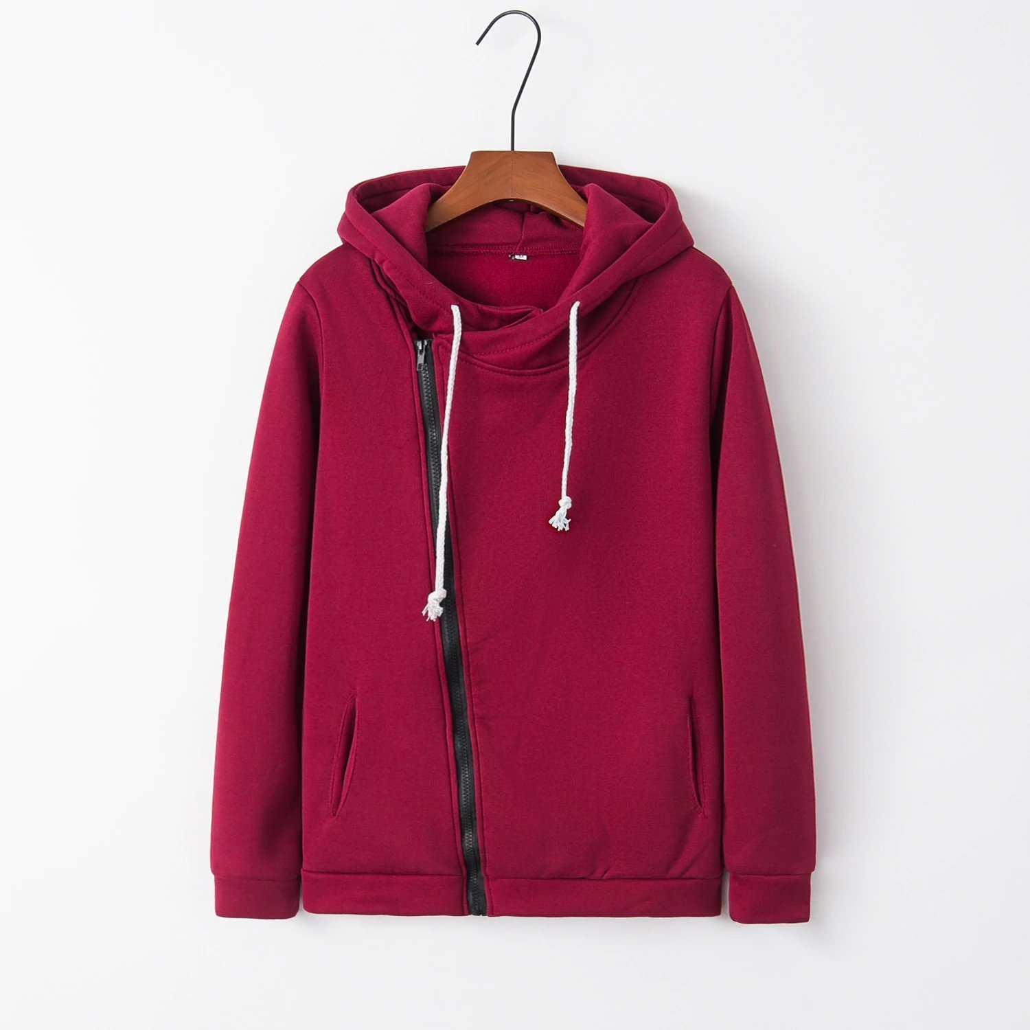 Solid Color Hooded Jacket Sleeve Women's Hoodie Zipper Fall Winter Women Sweatshirts