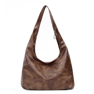 Retro Female Bag Hand Carry Dumpling Bag Female Solid Color One-shoulder Portable Dumpling Bag