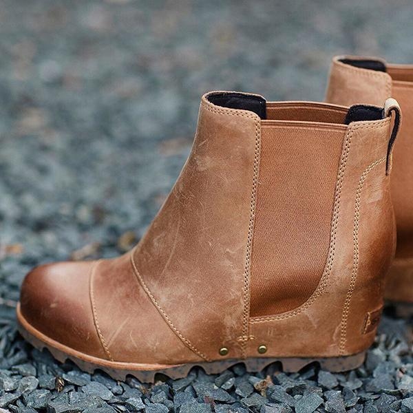 Bonnieshoes Women Winter Slip On Wedge Boots