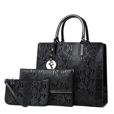 3Pcs Snake Serpentine Leather Handbags