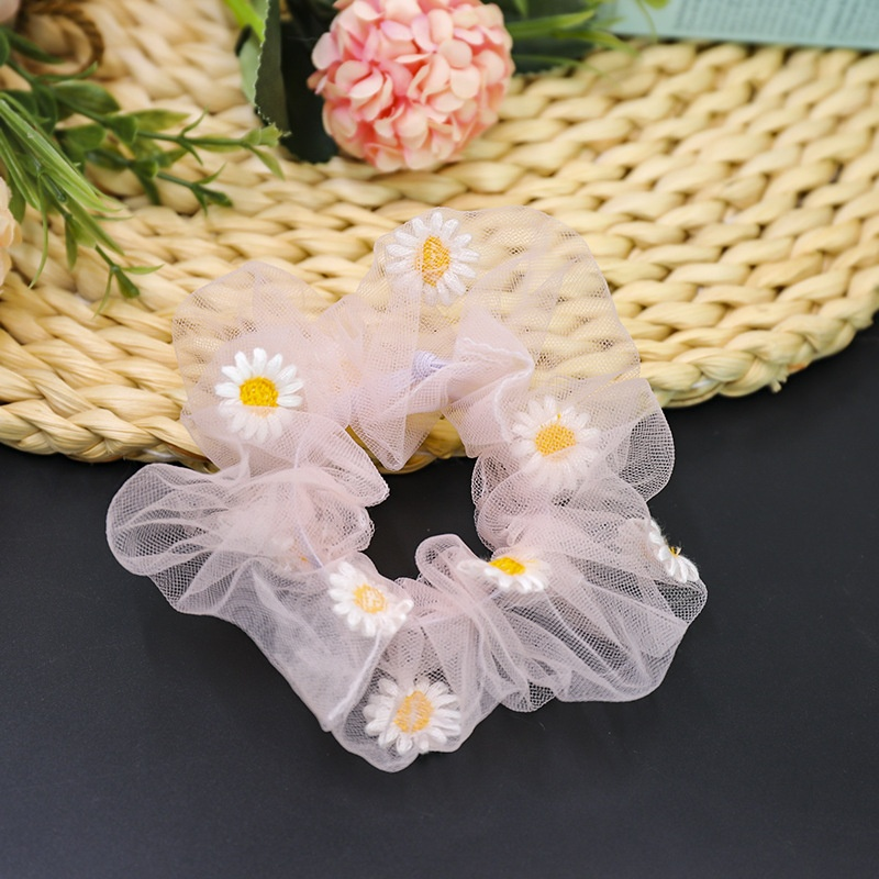 Women Hair Scrunchies Ponytail Holder Hair Rope Elastic Band Embroidered Daisy