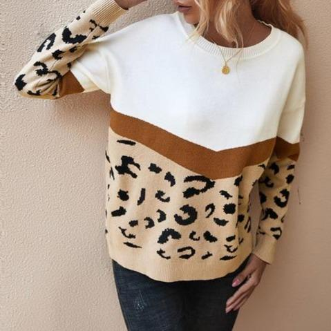 Women's fashion leopard patchwork knitted sweater crew neck pullover sweater